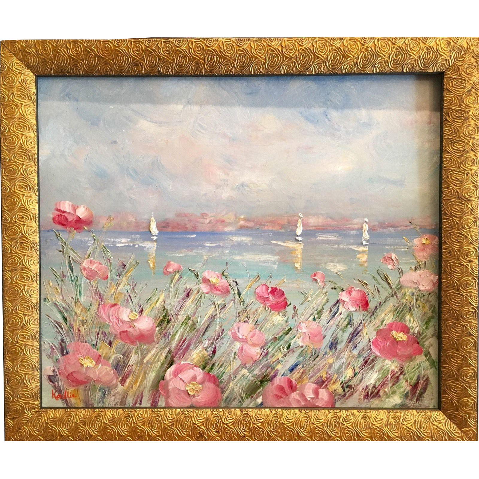 French Sailboat Seascape with Pink Flowers, Original Oil Painting by ...