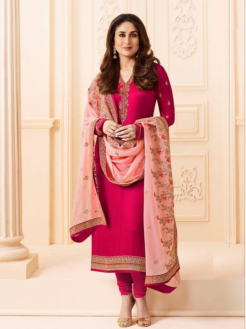 25486a386f Pink Party Wear Kameez, Georgette, Satin Party Wear Kameez, €35.37. Buy
