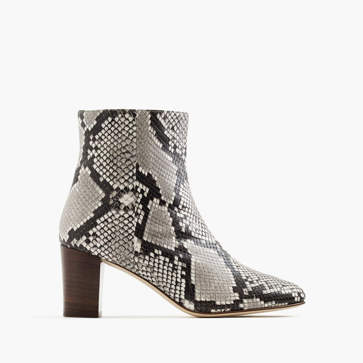 a08529531b J.Crew Womens Heeled Ankle Boots In Snakeskin-Printed Leather (Size ...