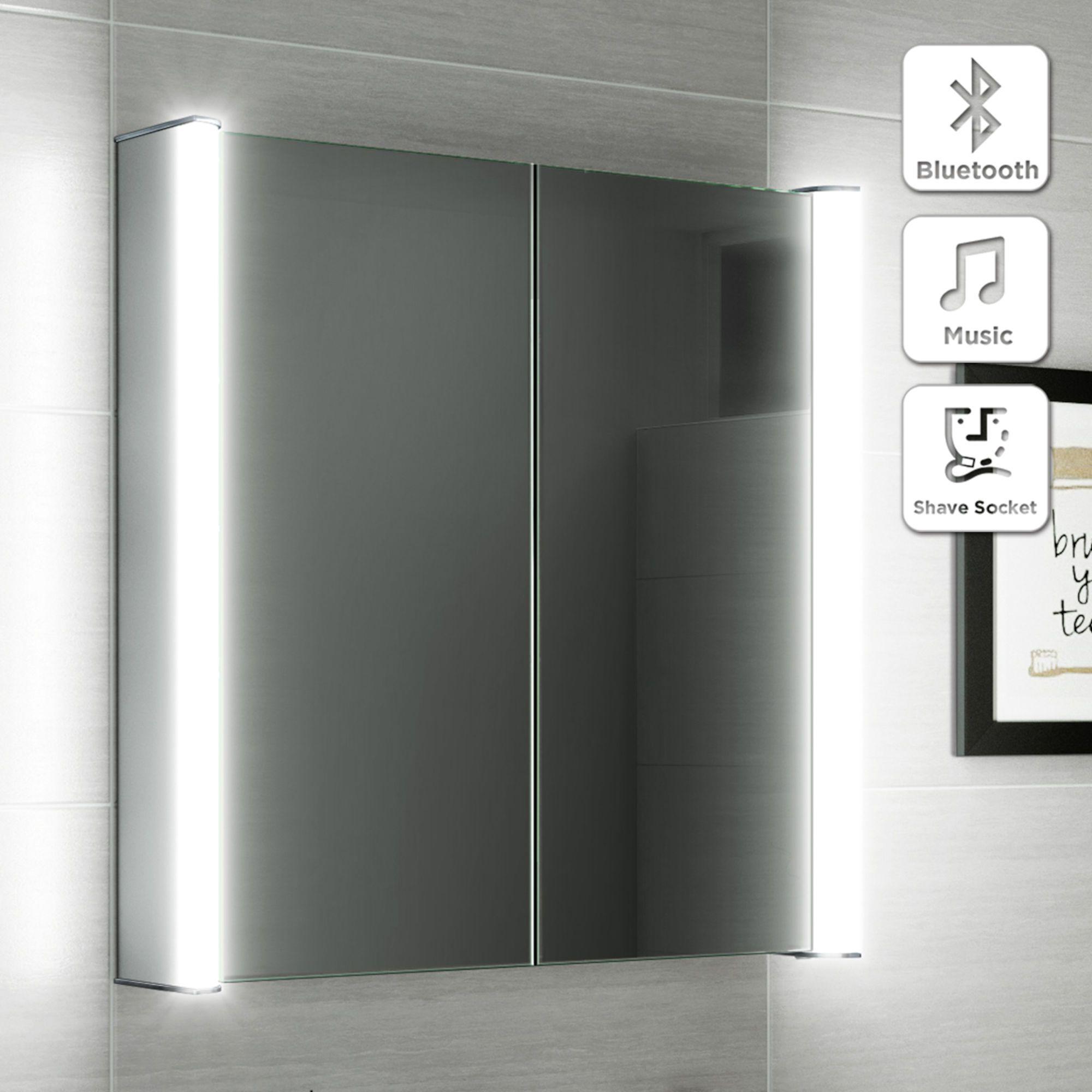 600x650mm Luminaire Illuminated Led Mirror Cabinet Bluetooth Speaker Shaver Socket Led Mirror Bathroom Mirror Cabinets Bathroom Mirror Cabinet