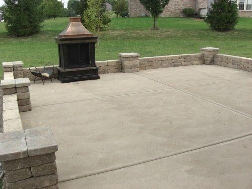 Concrete Slab And Brick Wall Patio Lerve Pinterest Backyard Patio Backyard Landscaping