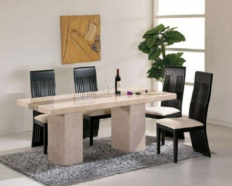 mesa marmol silla madera negra ideas comedor moderno Comedor
