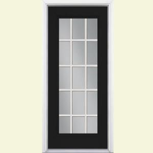 Masonite 32 In X 80 In Jet Black 15 Lite Right Hand Clear Glass Painted Steel Prehung Front Exterior Door Brickmold Vinyl Frame 20903 Exterior Doors Exterior Front Doors Entry Doors