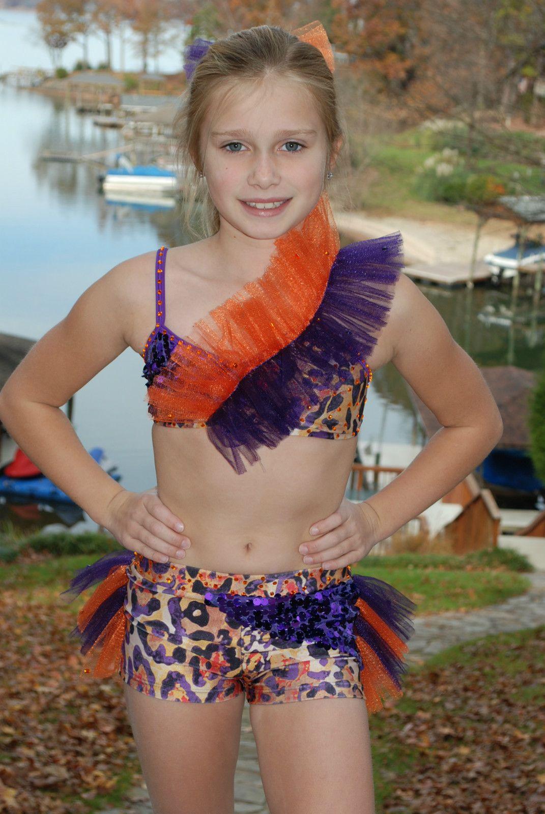 e2a3abd200a Purple Orange Leopard Print 2 PC Custom Competition Dance Costume CS cm CL