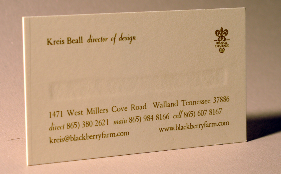 Engraved business card. Bruise is seen on the back. Two color engraved ink printed on extra heavy cardstock. Designed and printed by Larry B. Newman Printing Company.