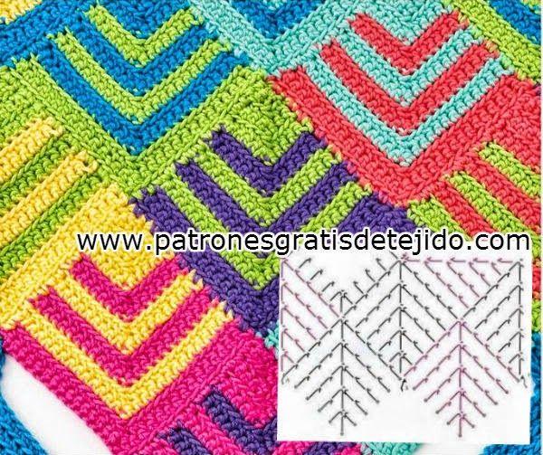Paso a paso de punto geométrico crochet | Crochet y Dos agujas ...