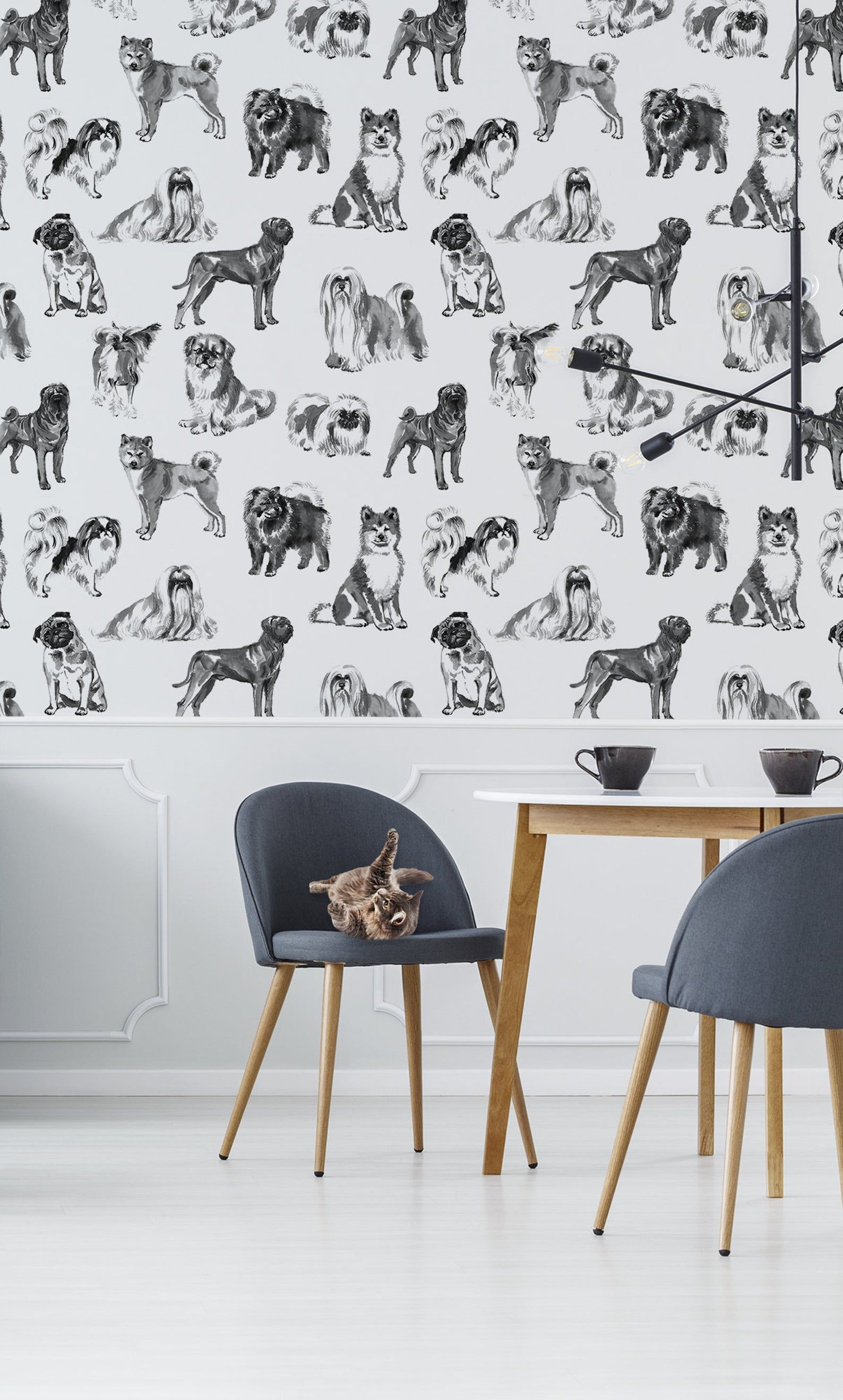 Dogs Wallpaper Peel And Stick Wall Mural Removable Animal Etsy Black And White Wallpaper White Wallpaper Watercolor Walls