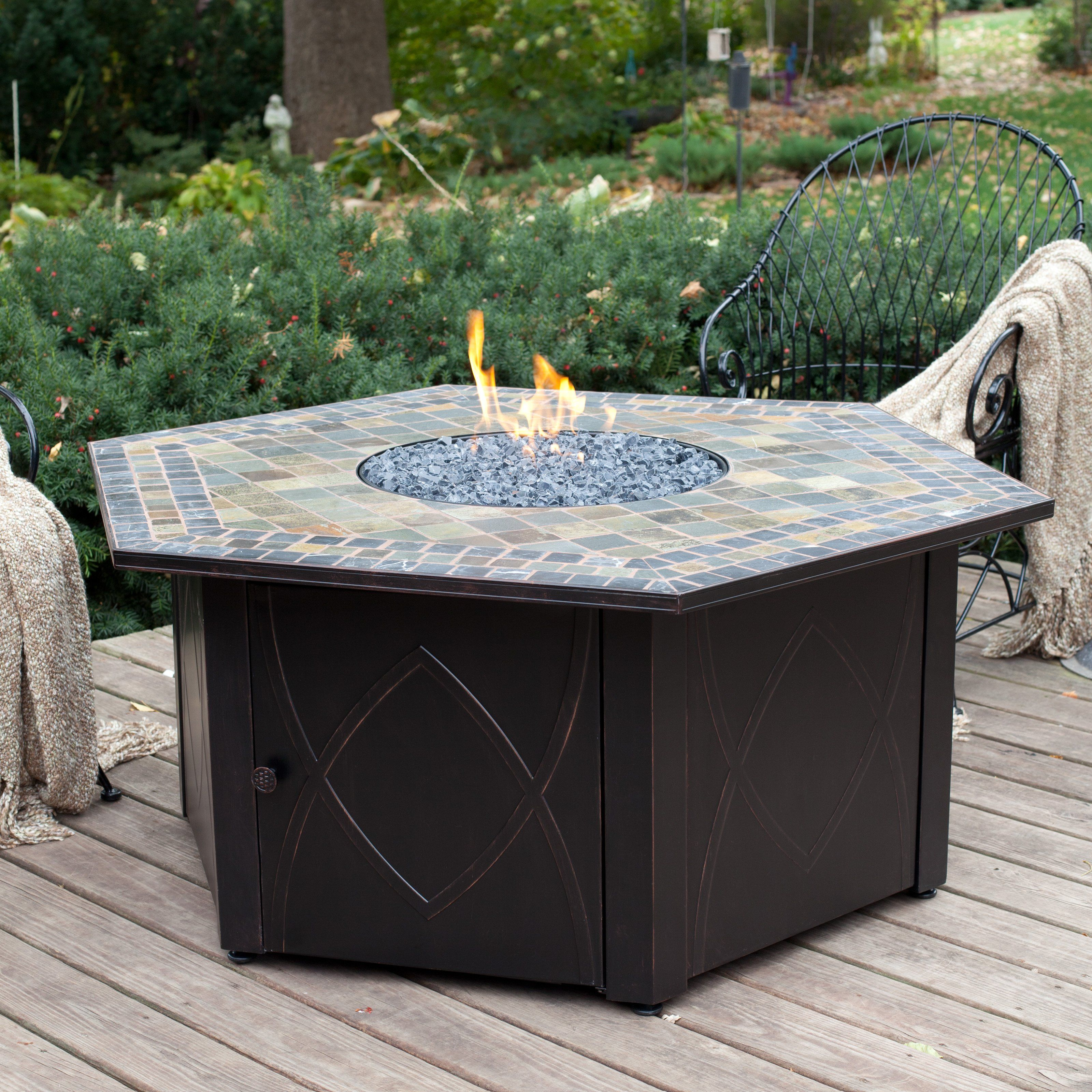 Uniflame in lp gas outdoor fire pit table with decorative slate