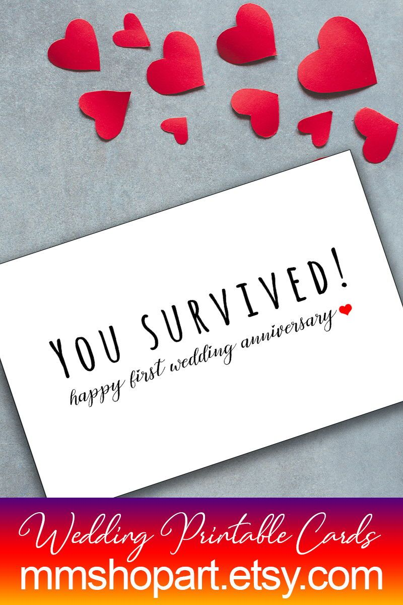 Funny 1st Wedding Anniversary Card You Survived Card 1 Year Wedding Anniversary Happy Funny Anniversary Cards Wedding Anniversary Cards 1st Wedding Anniversary