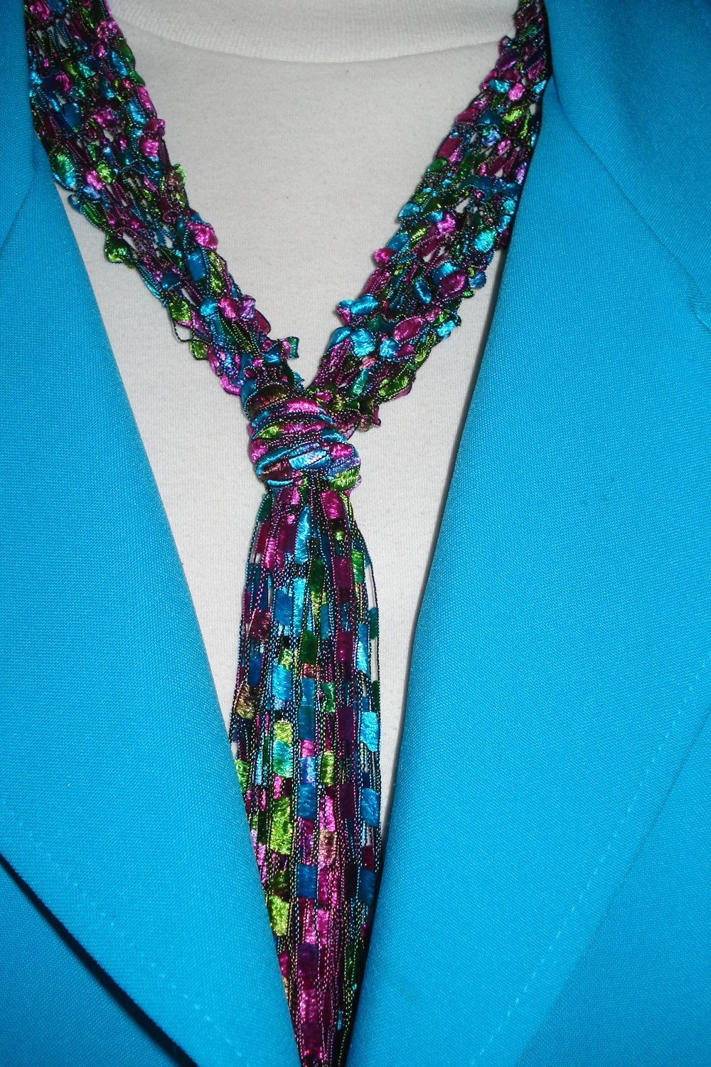 Handknit Necklace Scarf Of Bright Stained Glass Trellis