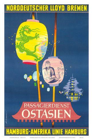 Hamburg America Line, Ostasien c.1962 Posters tekijänä Fritz Schoppe AllPosters.fi-sivustossa