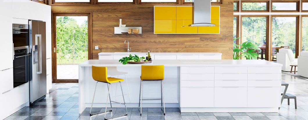 Ikea Kitchen White Gloss sektion kitchen with white high-gloss doors, drawer fronts, and