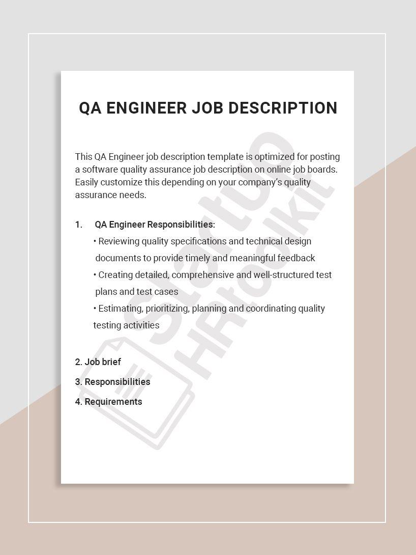 Qa Engineer Job Description Job Description Template Job Description Job Board