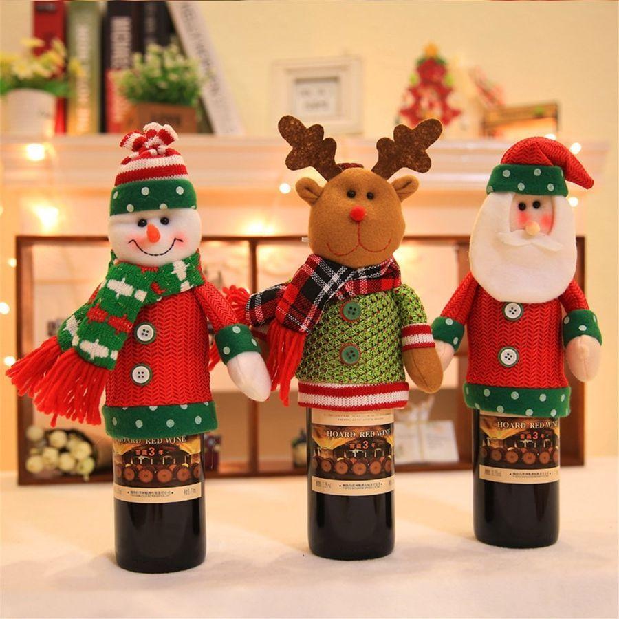 Merry Christmas Santa Deer Wine Bottle Cover Bag Xmas Dinner Party Table Decor
