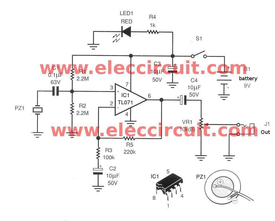 acoustic guitar pickup circuit using tl071 eleccircuit com rh pinterest com