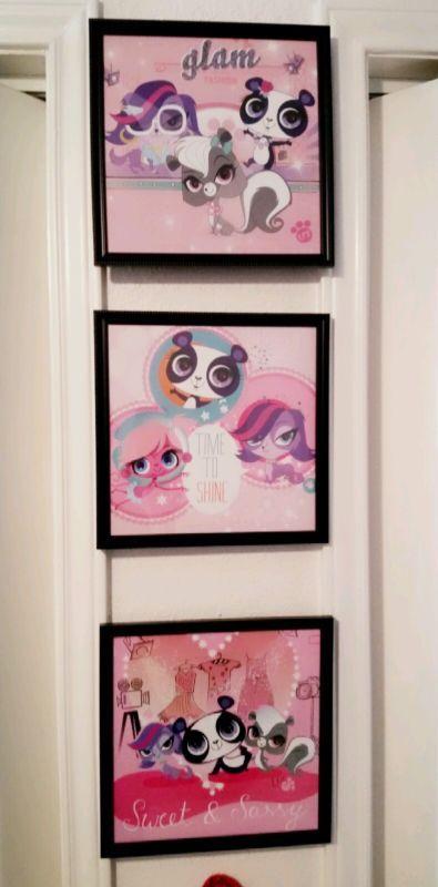 littlest pet shop wall art girls kids bedroom redecorating