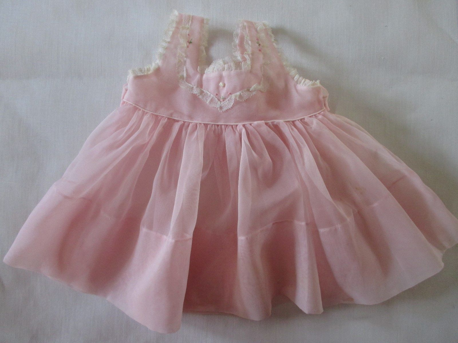 Vintage Pink Little Baby Girl 12 Month Sheer Frilly Dress Pearl
