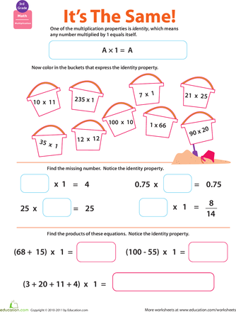 Properties Of Multiplication Identity Worksheet Education Com Math Properties Properties Of Multiplication Math Workbook