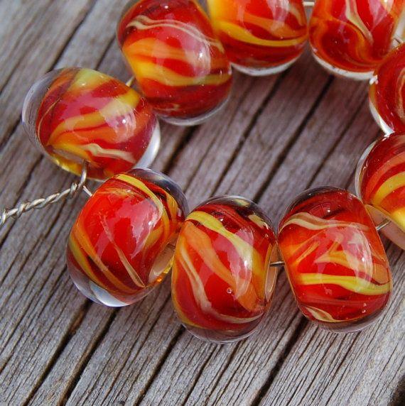 Heat Set of 9 Encased Lampwork Beads Dan O Beads by koregon, $24.00