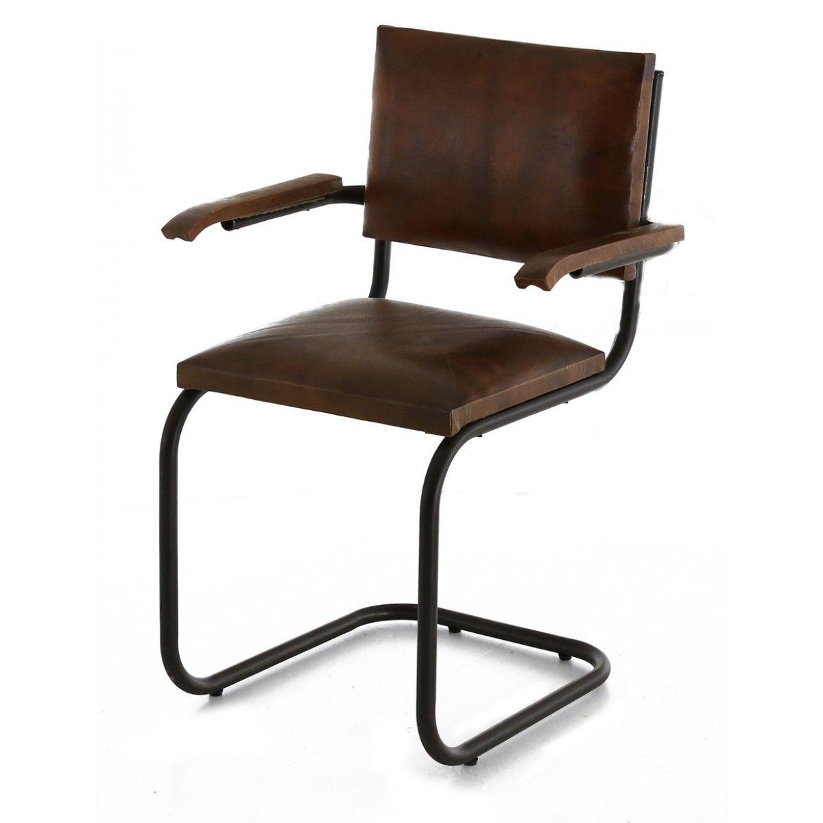 Lot De 2 Chaises Cuir Et Metal Marron Style Vintage Chair Mid Century Design Chaise