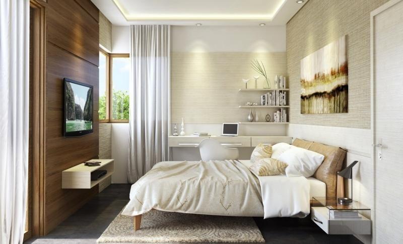 Gästezimmer mit Holzwand und Schreibtisch | Modern living ...