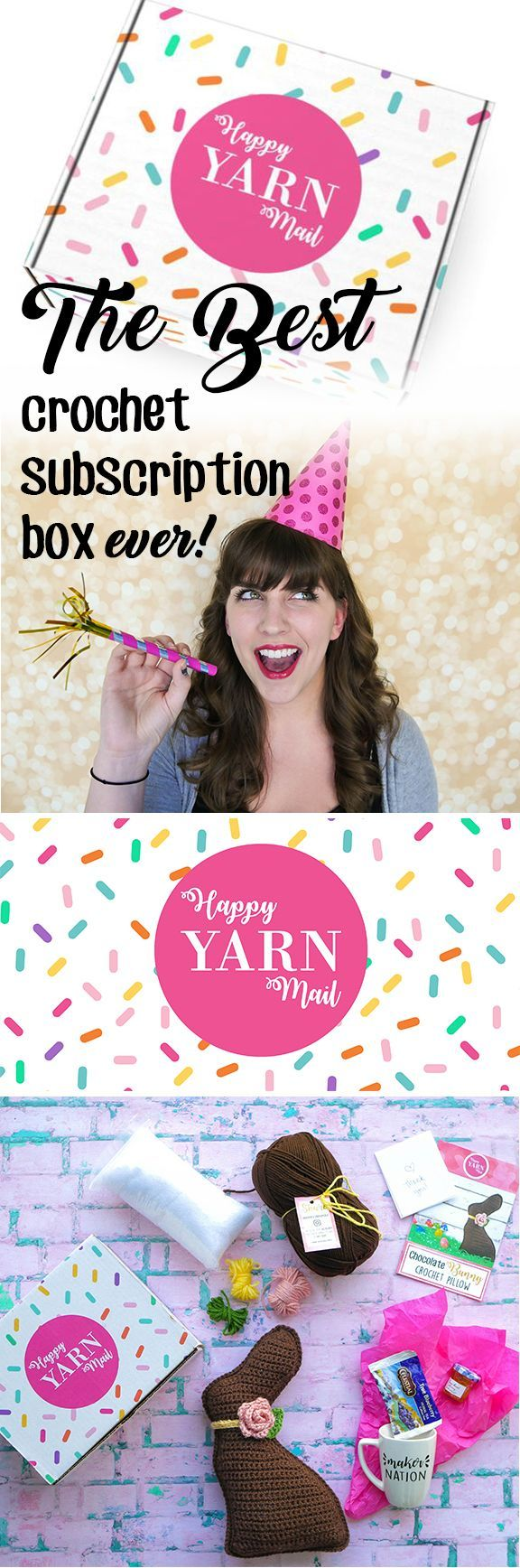 the best crochet subscription box ever is here happy yarn mail is a monthly box delivered right. Black Bedroom Furniture Sets. Home Design Ideas