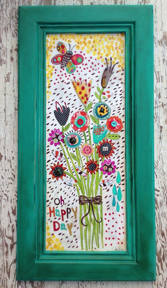 Folk Art Floral Mixed Media | Vintage paper, Art floral and Folk art