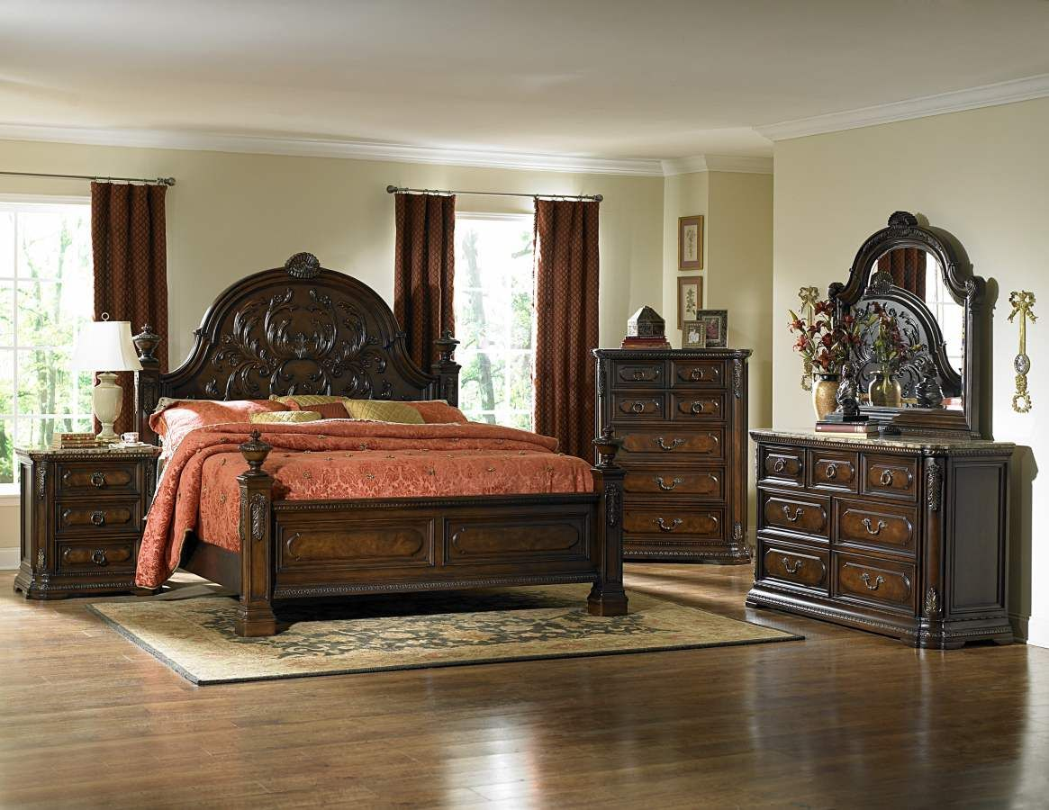 Spanish Bay Dark Cherry Wood Glass Marble Master Bedroom Set King Bedroom Sets Bedroom Sets Spanish Style Bedroom