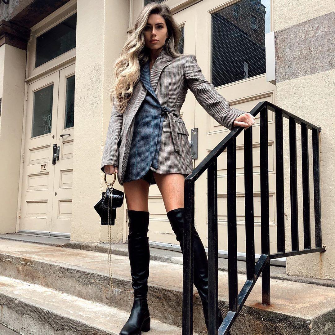 Fall fashion check blazer dress knee high boots