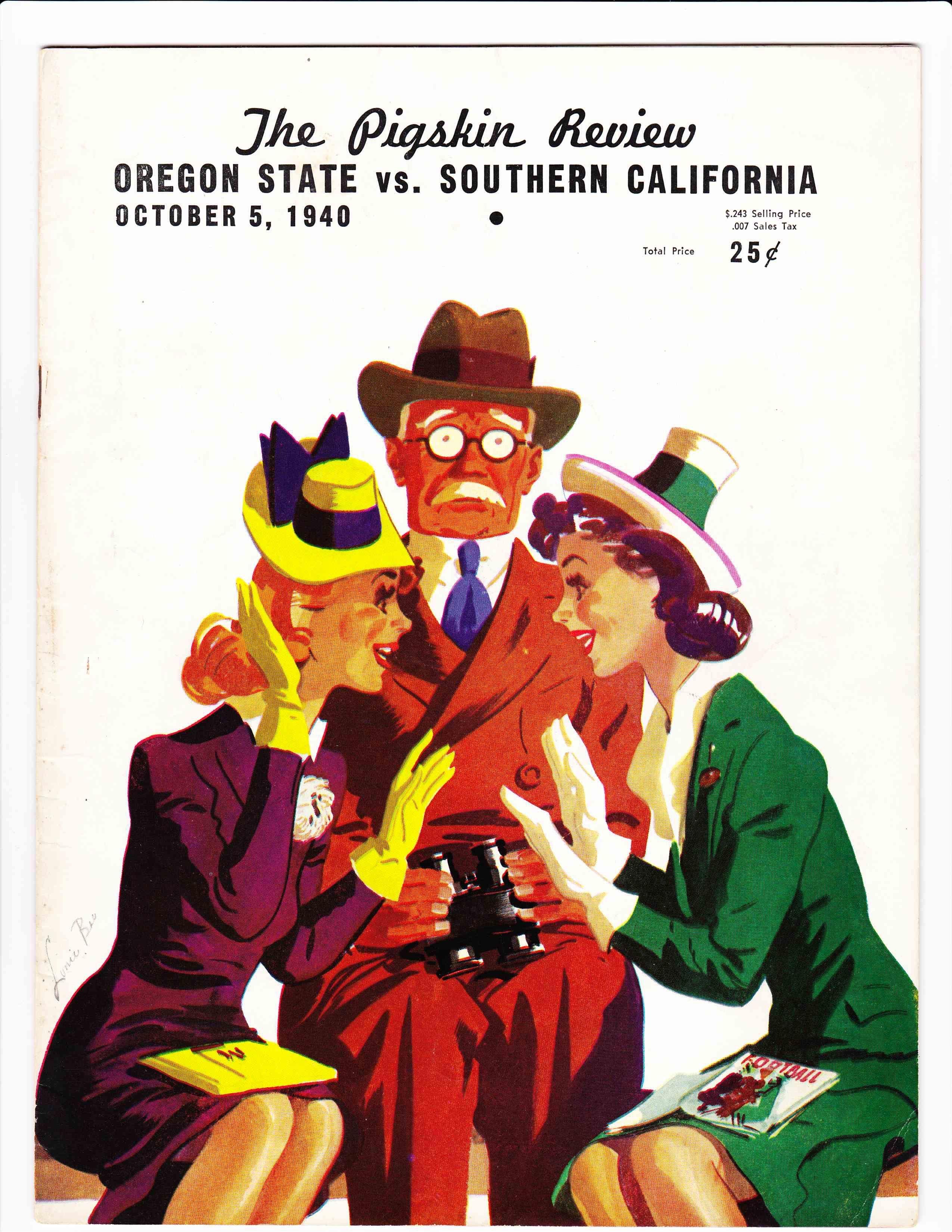 Oregon State Vs Usc Football Program 1940 Aggie Football
