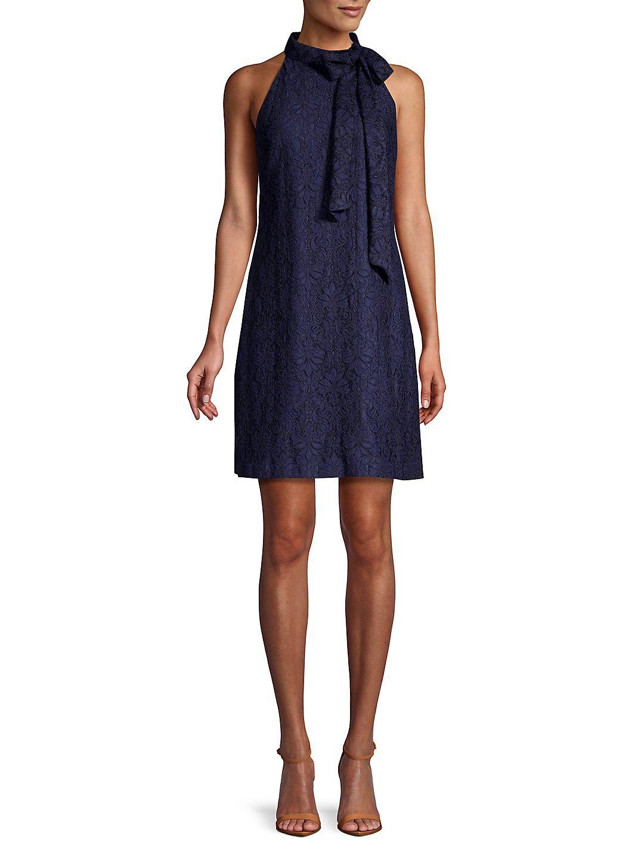 eb0e80cdeeb Vince Camuto - Bow-Neck Lace Halter Sheath Dress - Walmart.com ...