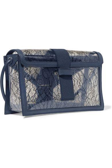 Christopher Kane   Safety Buckle leather-trimmed lace and PVC shoulder bag   NET-A-PORTER.COM