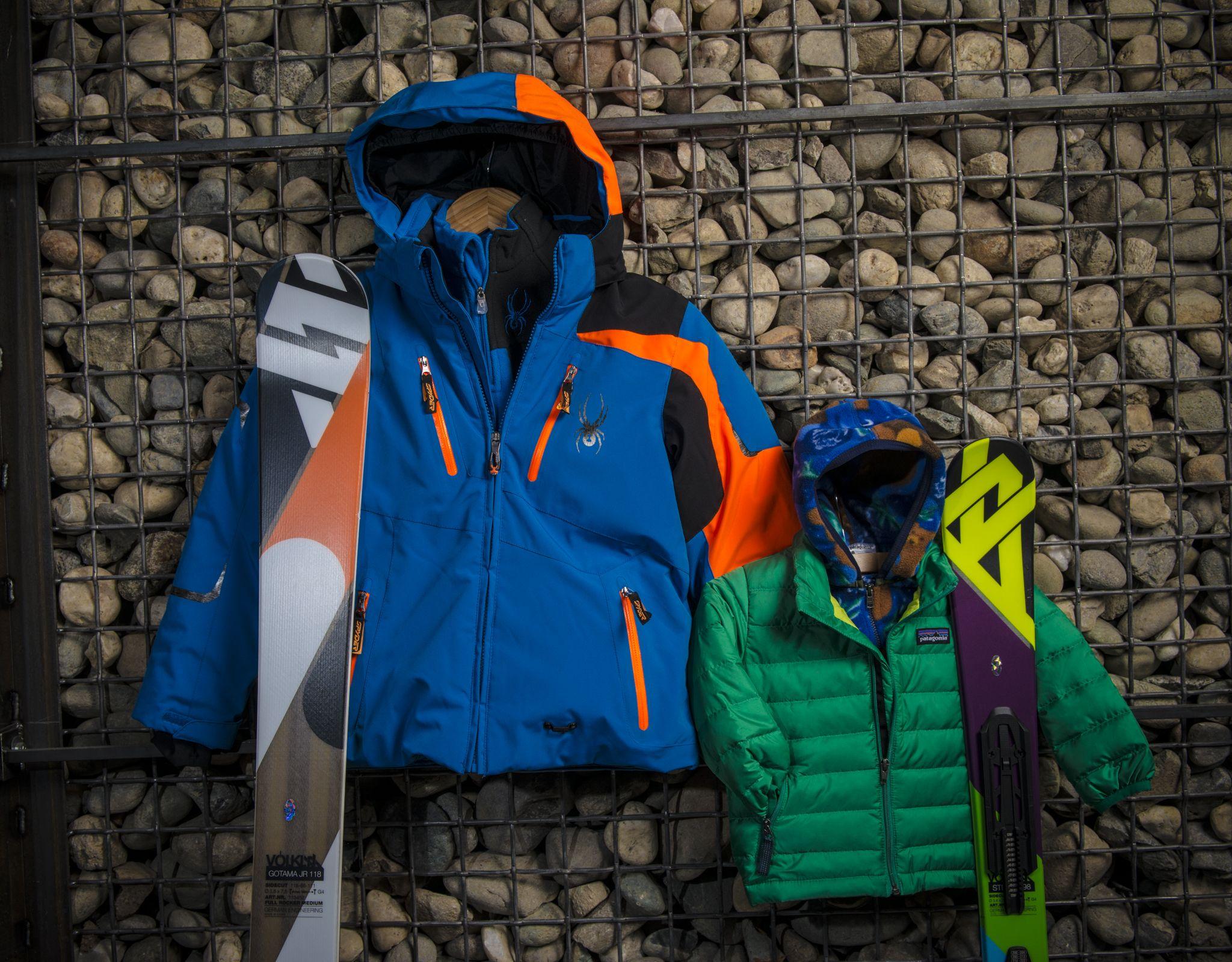 Boys Spyder jacket, Volkl Gotama Junior skis, Boys Patagonia