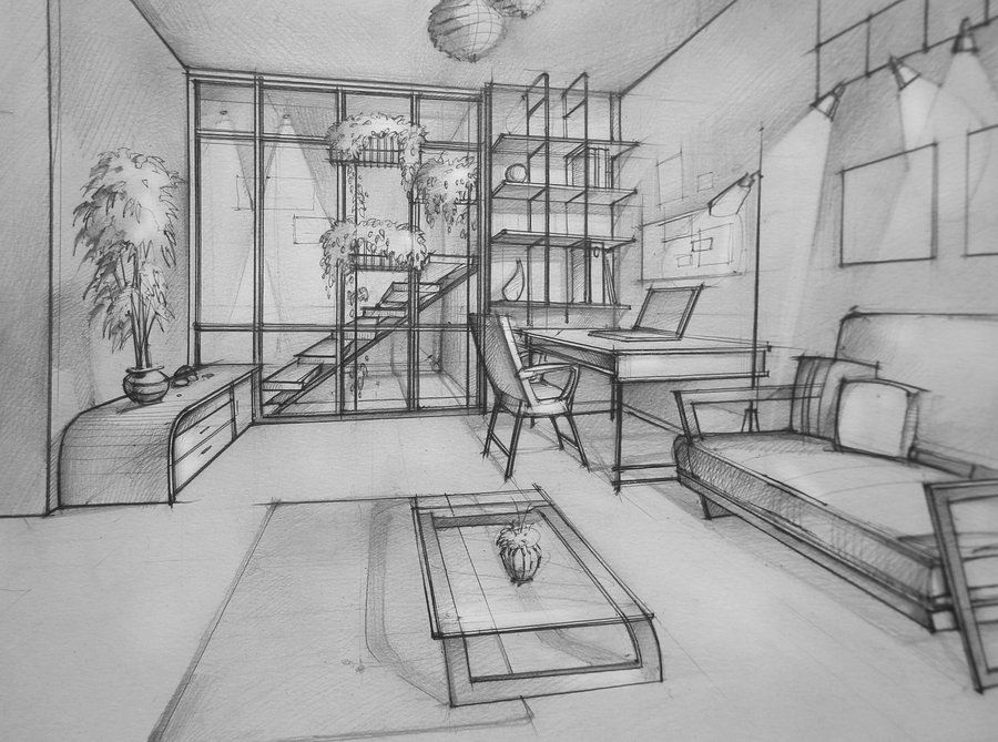 sketch perspective drawing one point perspective room drawing room