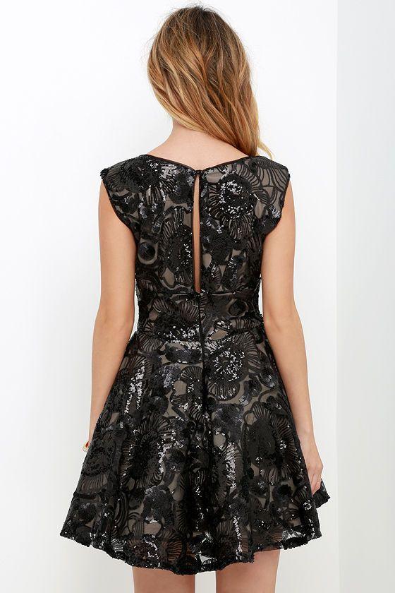3c312efdb4 Lighthearted Endeavors Black Sequin Skater Dress