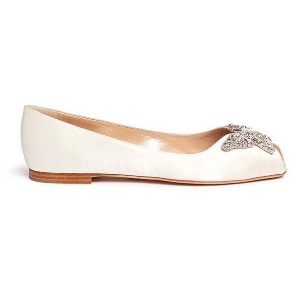 Aruna Seth U0027Lianau0027 Crystal Butterfly Peep Toe Satin Flats (u20ac605) ❤. White  Bridal ShoesBridal ...