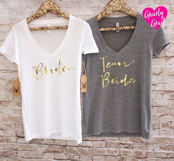 Braut Shirt Brautjungfer Shirts Team Braut Hemden Gold