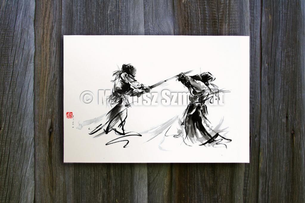 Sztuki Walki Akwarela Japońskie Obrazy Plakat A4