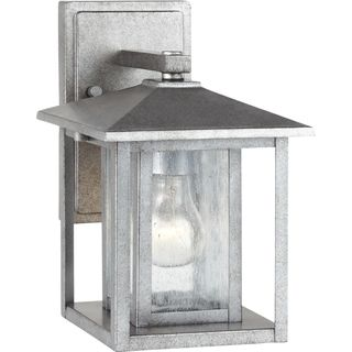 Outdoor Wall Lantern Lights Alluring Sea Gull Lighting Hunnington Weathered Pewter 1Light Outdoor Wall Review