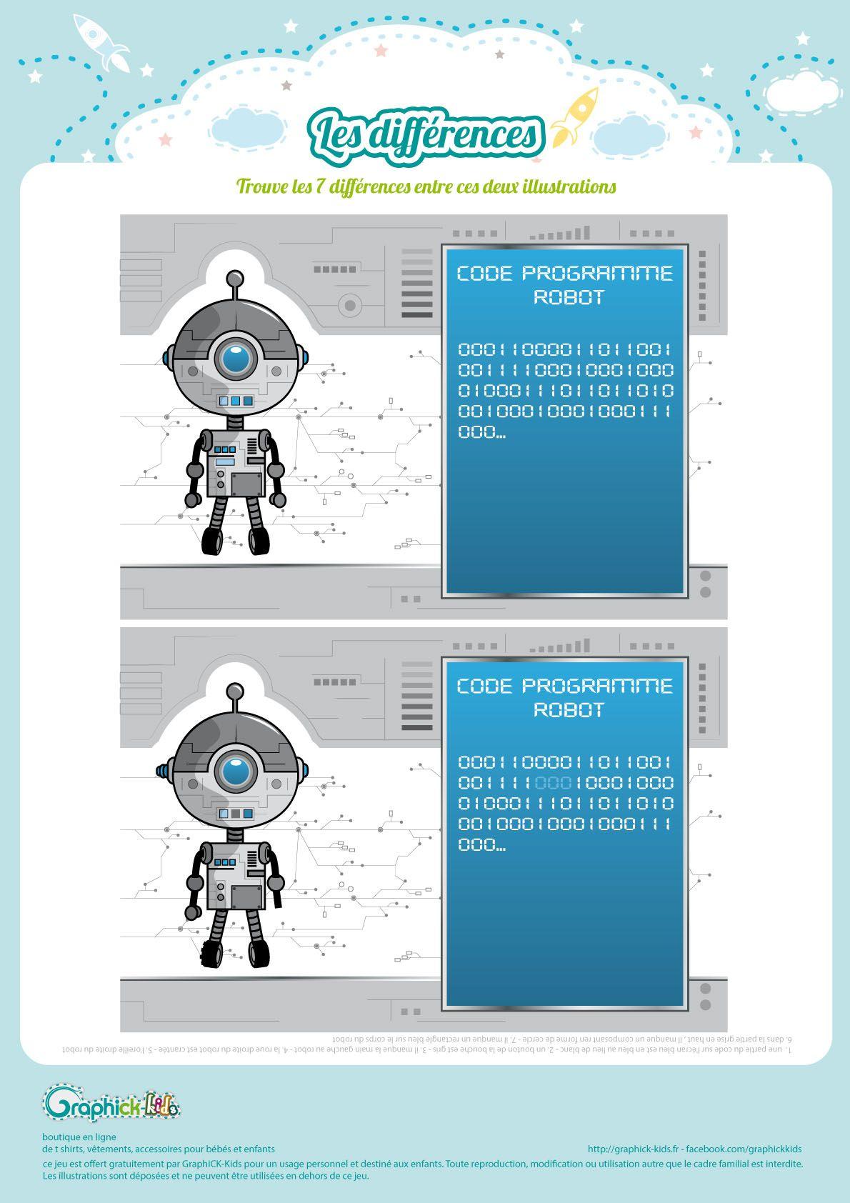 L Activite Du Mercredi Les Differences Du Petit Robot Activite