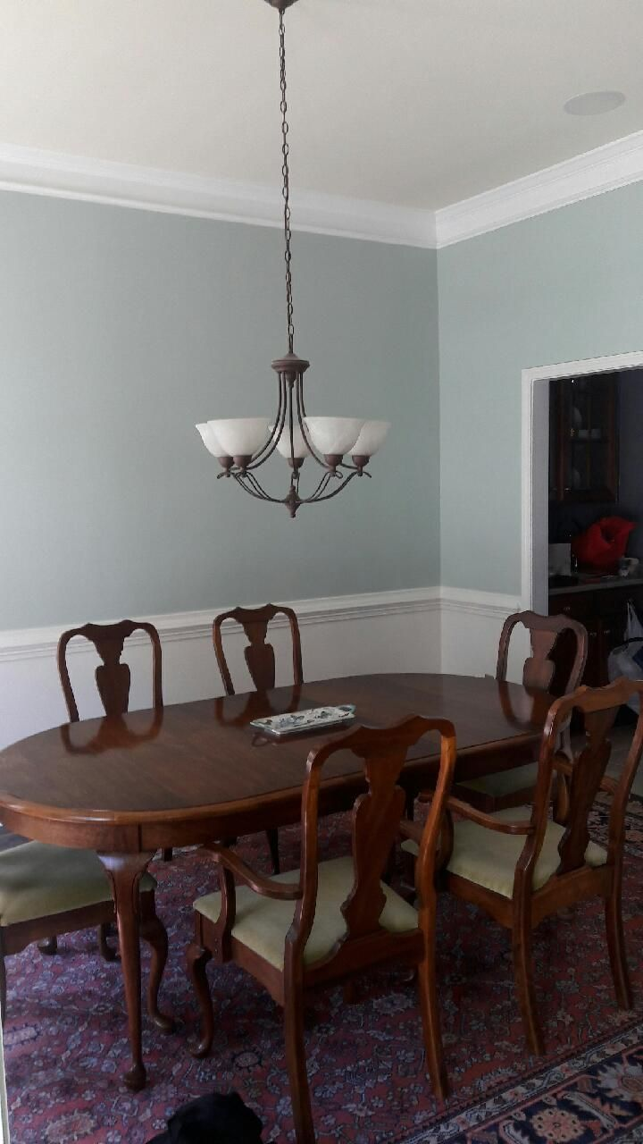 Dining Room White Paint Below Chair Rail