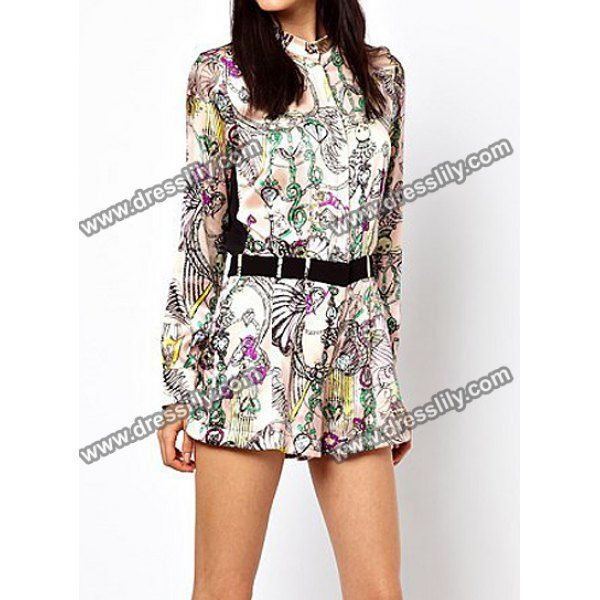 Floral Print Long Sleeve Splicing Waisted Corset Casual Style Women's Jumpsuits