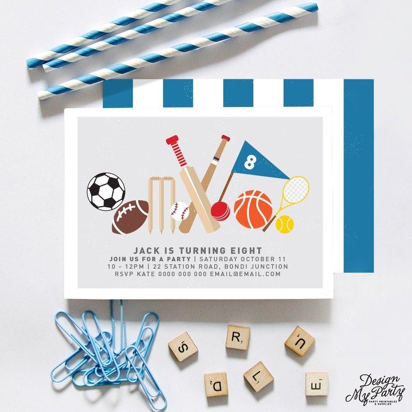 Sports Invitations (cricket, football, tennis, baseball, basketball ...