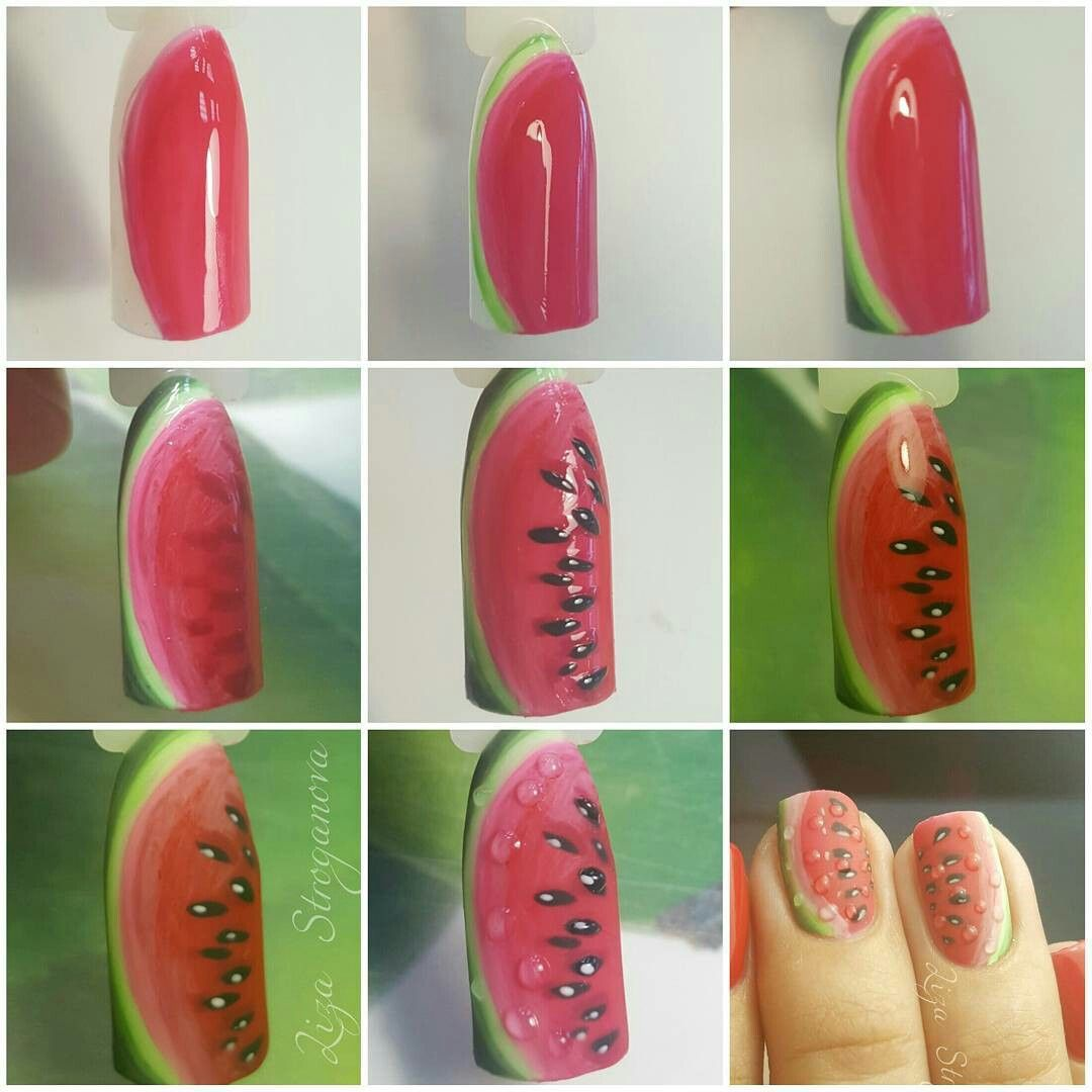 Watermelon nails | paznokcie | Pinterest | Diseños de uñas ...