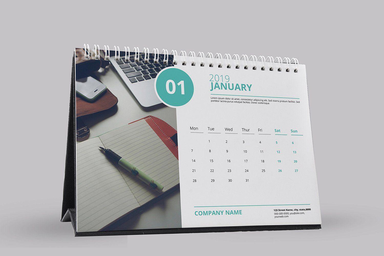 Desk Calendar Template 2019 V09 Dengan Gambar Desain Matematika