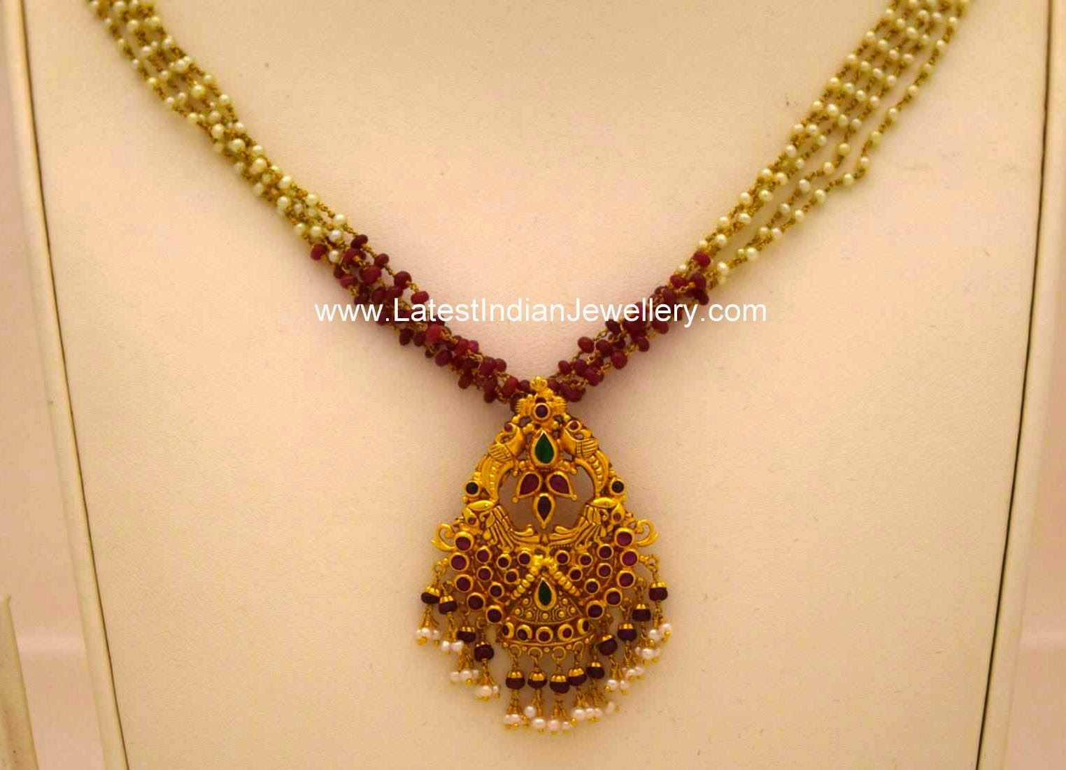Light weight beads chain and pendant gold pendant chains and light weight beads chain gold pendant mozeypictures Gallery