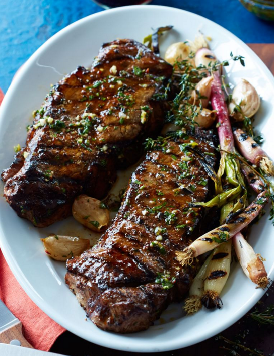 grilled new york strip steak with salsa verde