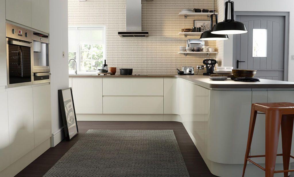 handleless cream gloss kitchen image 1 | • home • | pinterest