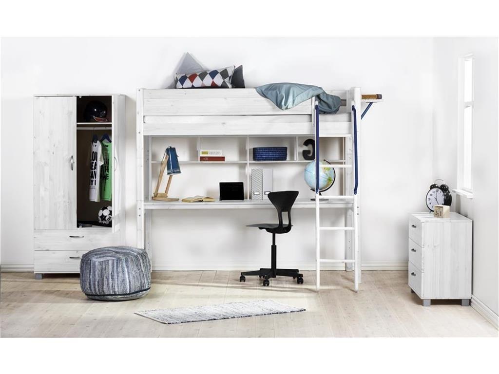 Hochbett Weiß Mit Schreibtischplatte, Regal, Schräger Leiter, Flexa Basic  Trendy, Inkl. Rollrost, Erweiterbar Und Umbaubar Jetzt Bestellen Unter: ...
