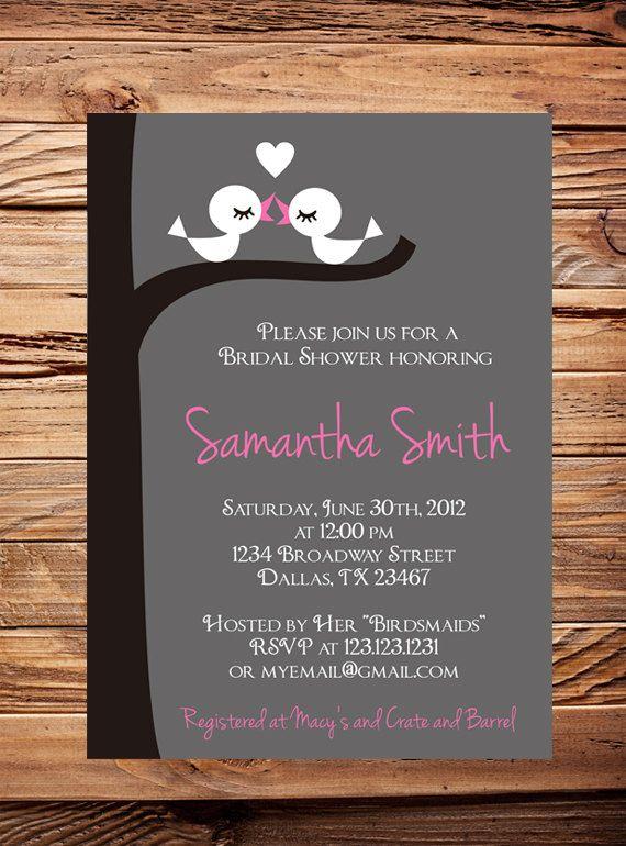 bridal shower invitation love birds bridal or by stellardesignspro 2100